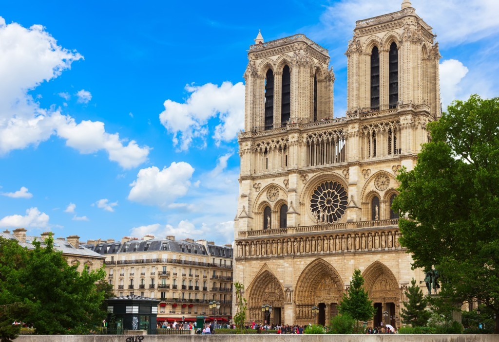 Paris_Notre Dame_Notre Dame cathedral facade in Paris, France_129937978-min