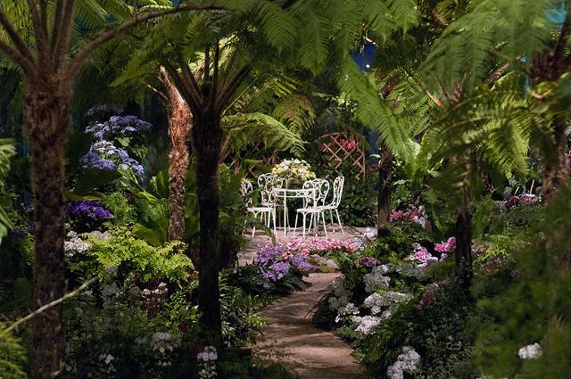 Gartenlaube im Gewächshaus