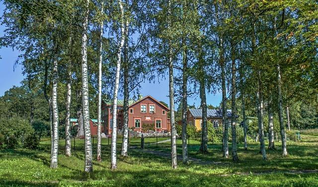Häuser in Waldgebiet